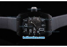 Richard Mille RM 005 PVD Case Black Dial with White Number Marking and Balck Leather Strap