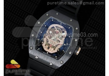 RM052 Black Ceramic Full Paved Diamonds Skull Dial Style 2 on Black Rubber Strap MIYOTA8215