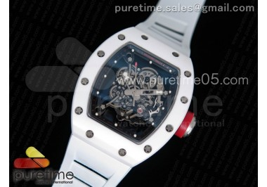 RM055 Real White Ceramic Case KVF Best Edition Skeleton Dial Red on White Rubber Strap MIYOTA8215