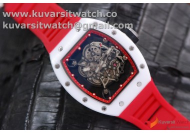 RICHARD MILLE 055 WHITE CERAMIC BEZEL/RED SKELETON DIAL.MIYOTA8215