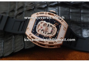 RICHARD MILLE RM052 SKULL ROSE GOLD FULL DIAMONDS.