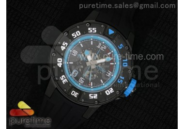 RM028 47mm RMF PVD Blue Skeleton Dial on Black Rubber Strap A7750