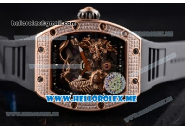 Richard Mille RM 51-01 Tourbillon Tiger and Dragon Rose Gold Case with Seleton Dial and Black Rubber Strap Diamonds Bezel