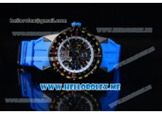 Richard Mille RM 60-01PVD Case with Skeleton Dial and Blue Rubber Strap PVD Bezel (EF)