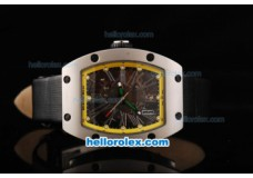 Richard Mille RM 005 Silver Case Yellow Border Silver Rome Numeral Marker and Black Leather Strap